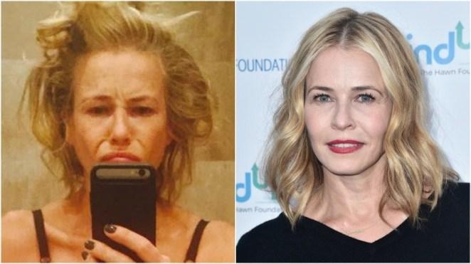 Chelsea Handler split image no makeup