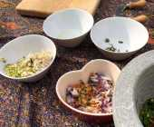 Chopping up the vegetables and spices
