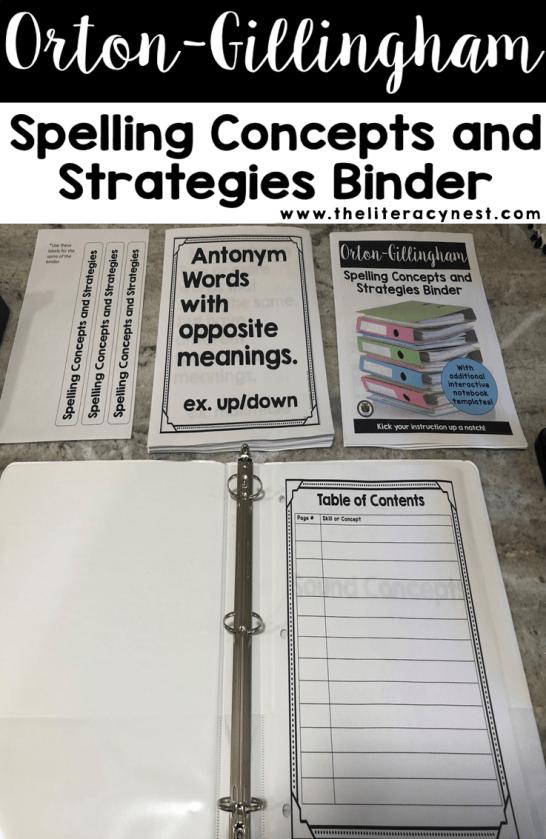 orton-gillingham reference binder