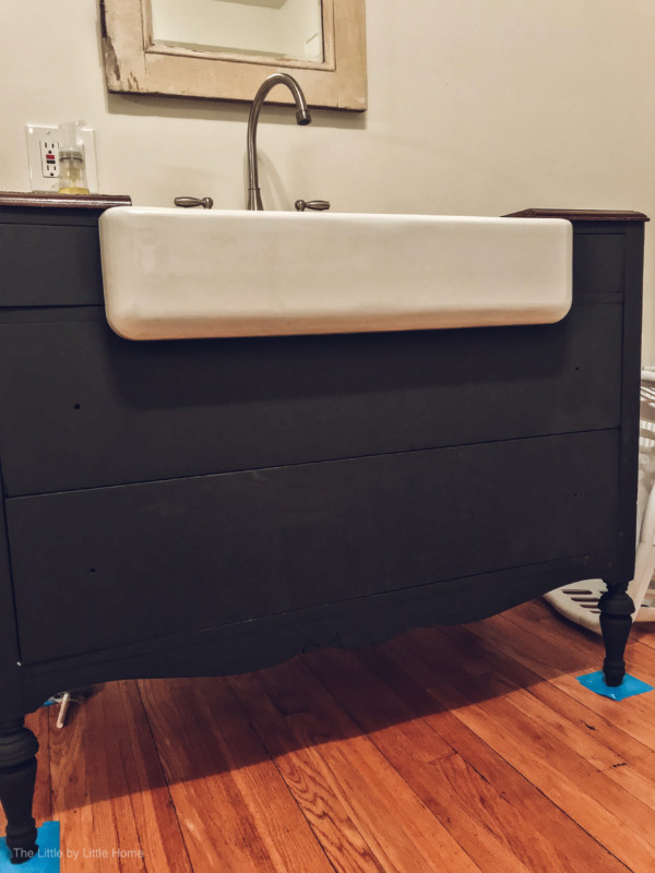 How To Convert A Dresser Into A Bathroom Vanity The Little By Little Home