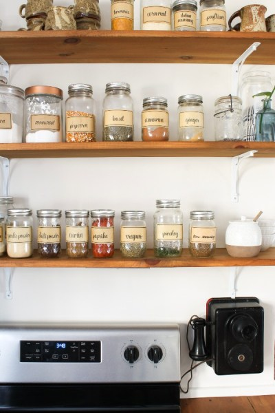Kitchen Open Shelving with Spices and Seasoning