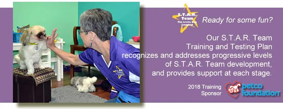 Ready for some fun? Our S.T.A.R Team Training and Testing Plan recognizes and addresses progressive levls of S.T.A.R. Team development, and provides support at each stage. Petco Foundation - 2018 Training Sponsor