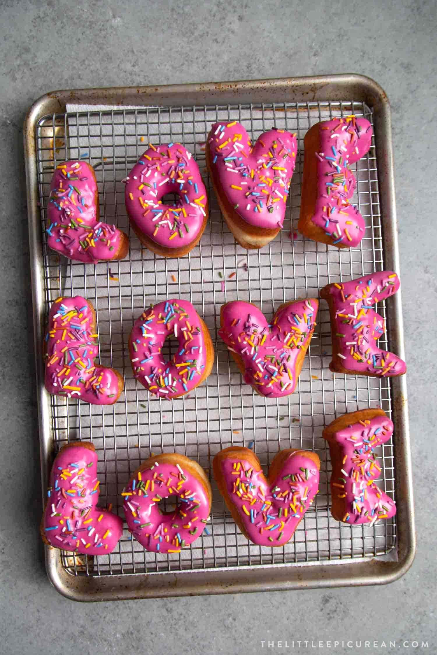 Glazed Letter Donuts With Sprinkles