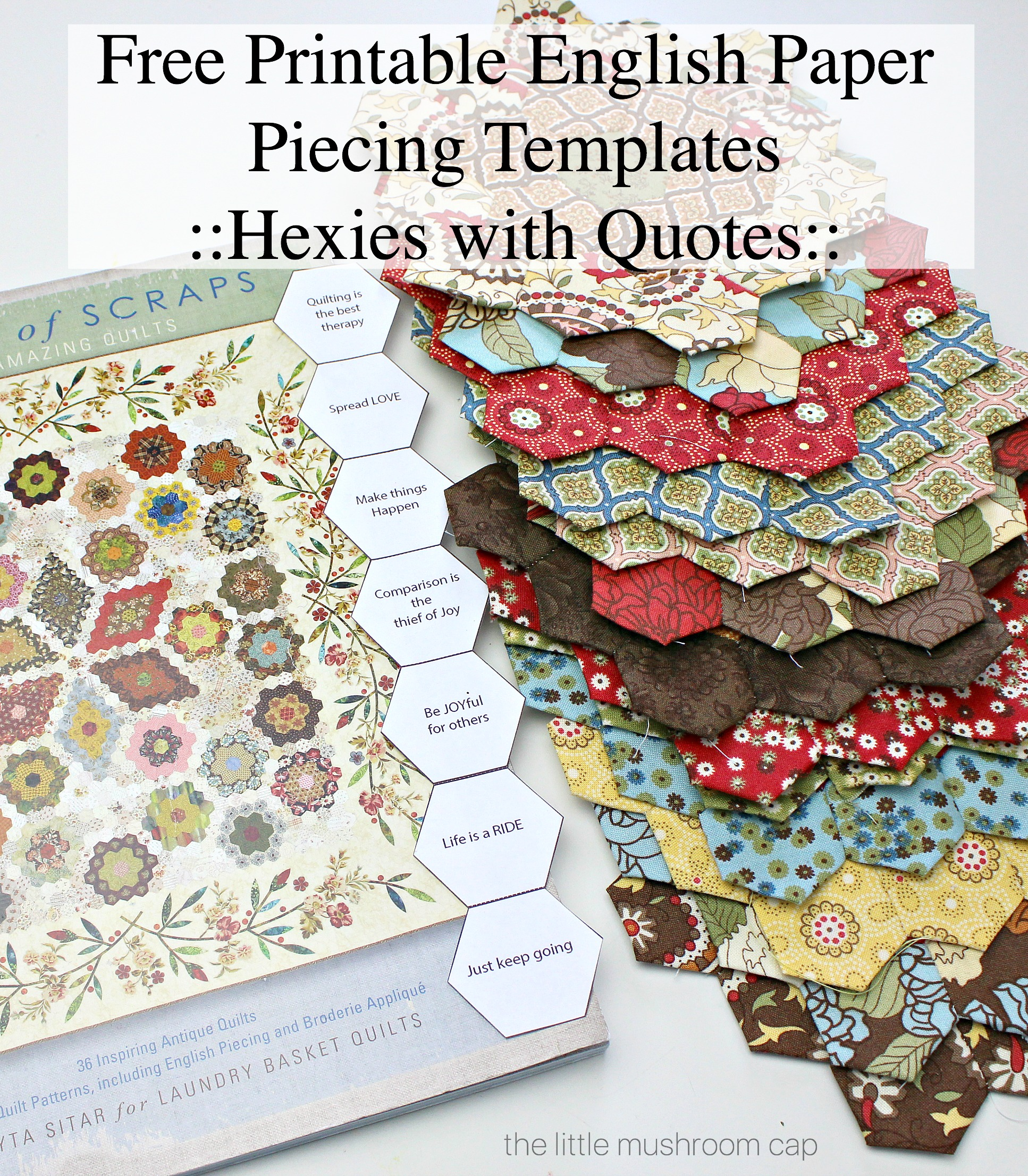 image about Free Printable Quilting Stencils named No cost Printable Hexagon English Paper Piecing Template - The