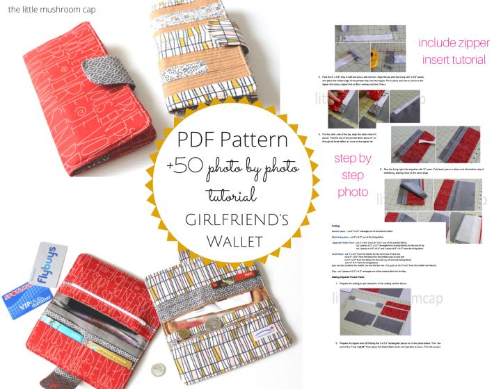 PDF GirlFriend Wallet Pattern   Handmade Wallet  How to sew wallet purse   the little mushroom cap pattern