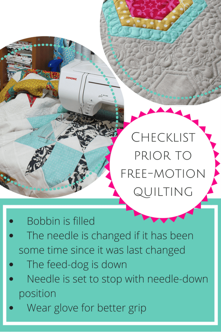 Checklist prior to free motion quilting _ quilting tips _ quilting on domestic machine
