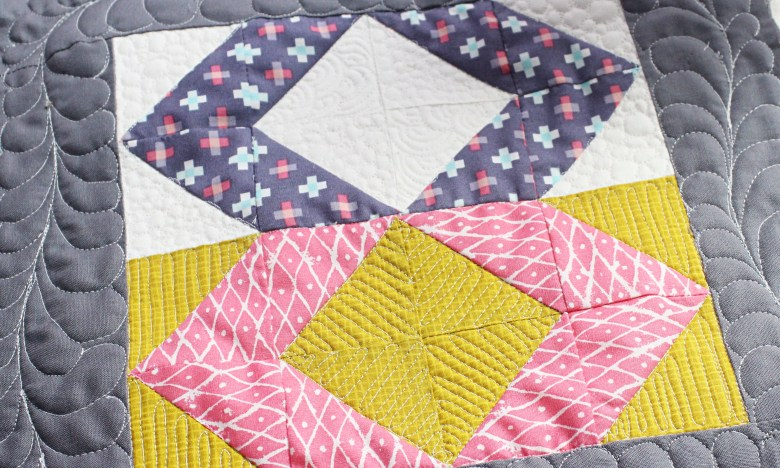 Free Motion Quilting on Block Patience Corner | Sewcial Bee Sampler