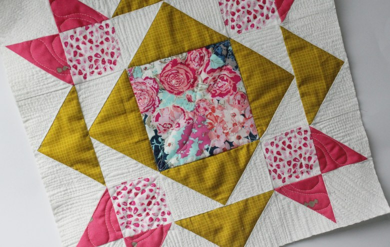 Free Motion Quilting on Block Dove in the Window   Sewcial Bee Sampler