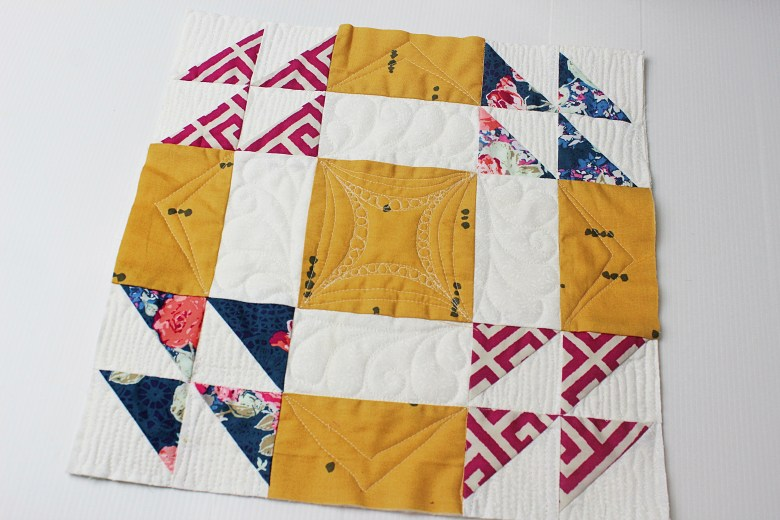 Free Motion Quilting on Block Wedding Ring | Sewcial Bee Sampler