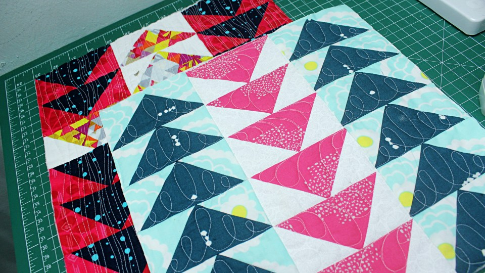 Free Motion Quilting Flying Geese. A quilt as you go series teaching you how to free motion quilt lots of motifs