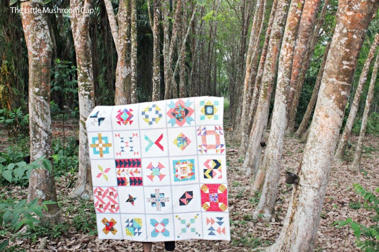 """Sewcial Bee Sampler V1"" Free QAYG Quilt Pattern designed by Amira Saryati Ameruddin from The Little Mushroom Cap"