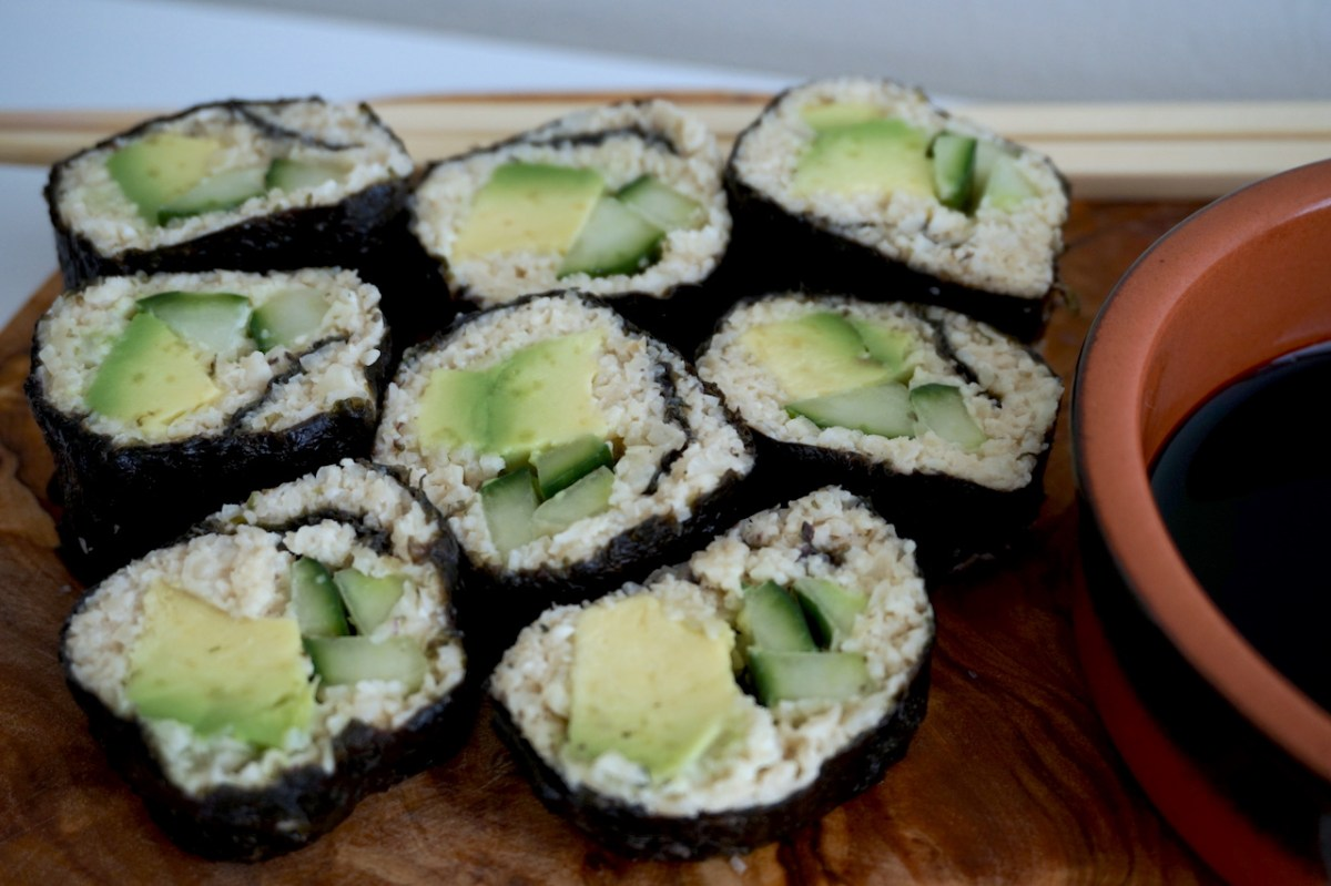 Cauliflower Sushi Pieces | thelittleredspoon.com