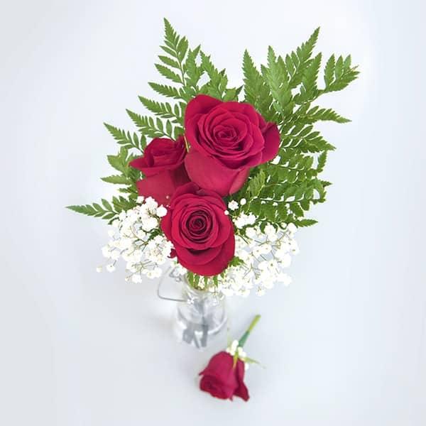 3 Rose Bouquet Boutonniere