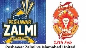 13th T20 Islamabad United VS Peshawar Zalmi Live Match 12th Feb Scorecard