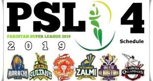 PSL 4 Schedule 2019 Matches Time Table, Fixtures, Venues