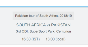 Pak Vs SA 3rd One Day Local Start Time In Pakistan