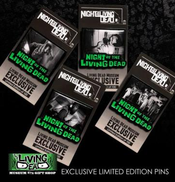 NIGHT OF THE LIVING DEAD Enamel Photo Scene Pins Set of Four