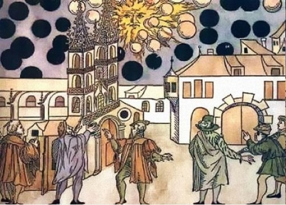 Image result for On this day in 1561 it was Good Friday - Around dawn there was a mass sighting of celestial phenomena over Nuremberg,