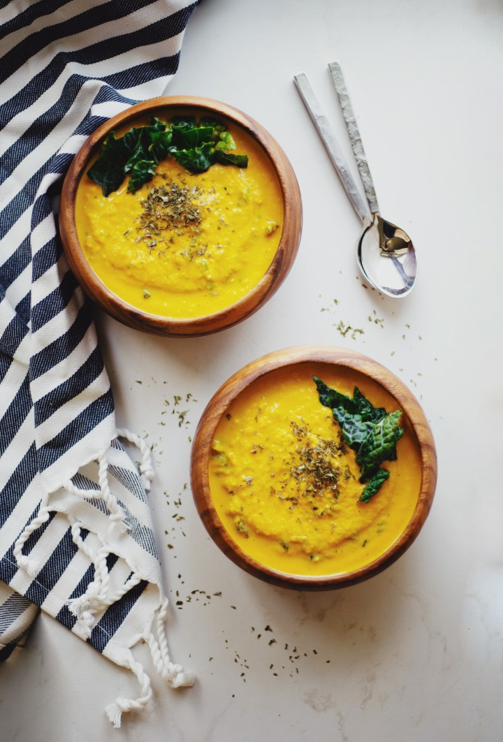 Healthy Carrot Peanut Soup recipe on The Local Sprout Food Blog