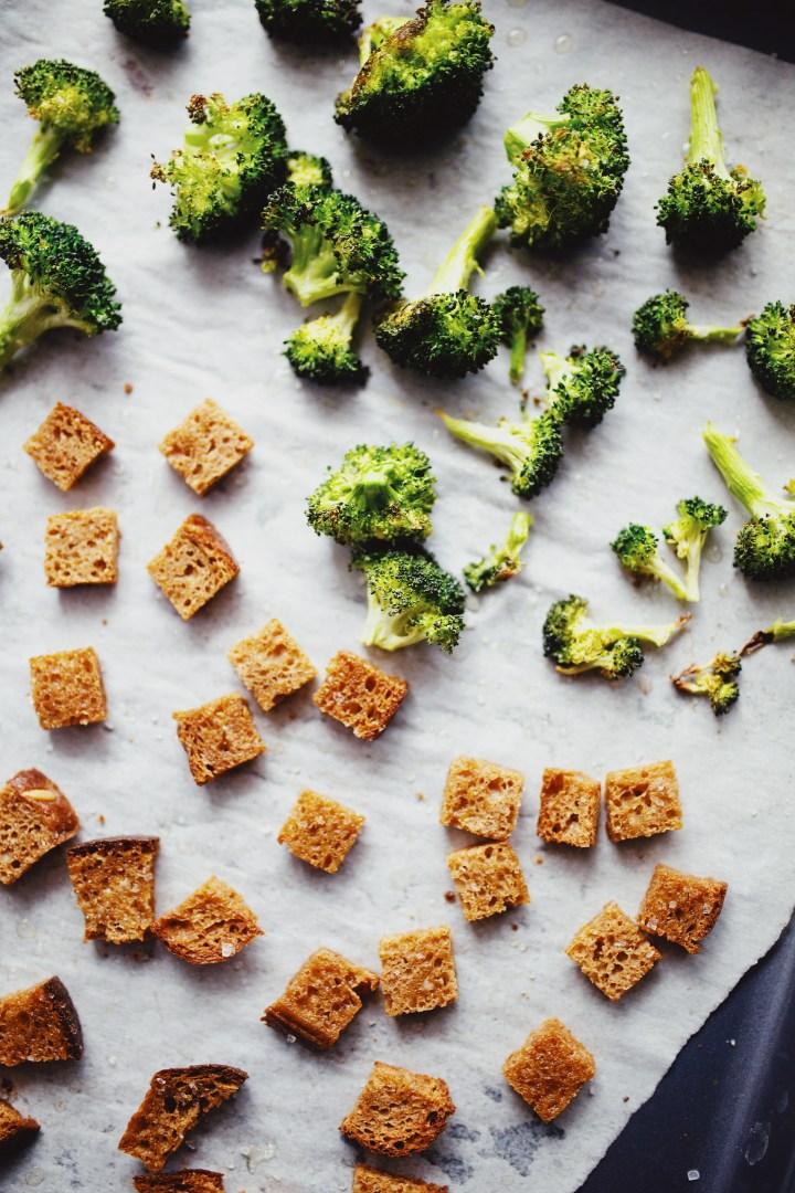 Roasted broccoli for vegan broccoli cheddar soup recipe