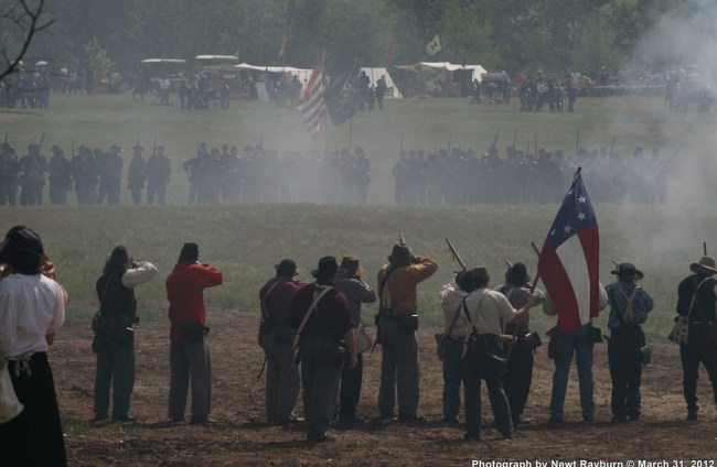 Walker's company fires on approaching Union forces. Photograph by Newt Rayburn © March 31, 2012.
