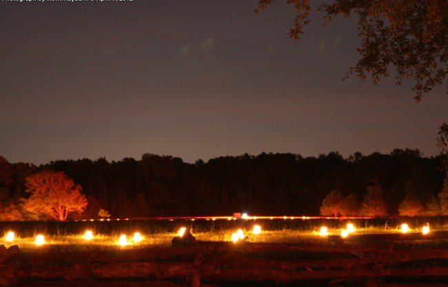 Luminaries at Bell's Field, looking towards The Peach Orchard, April 7, 2012 Photograph by Newt Rayburn