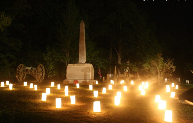 Luminaries at the Illinois Monument at Shiloh Church, April 7, 2012 Photograph by Newt Rayburn