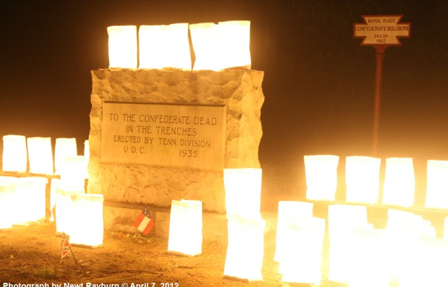 Luminarias at a Confederate Burial Trench at Shiloh. Photograph by Newt Rayburn © April 7, 2012