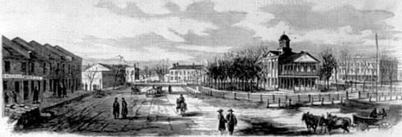 The Holly Springs, Mississippi town square in 1862. This sketch was made by A. Simplot of Harper's Weekly shortly before Van Dorn's raid.