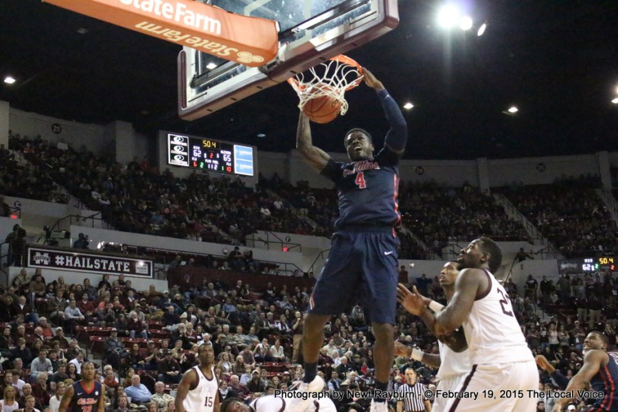 Ole Miss Forward M.J. Rhett had a monster dunk in Humphrey Coliseum in Starkville. Photograph by Newt Rayburn.
