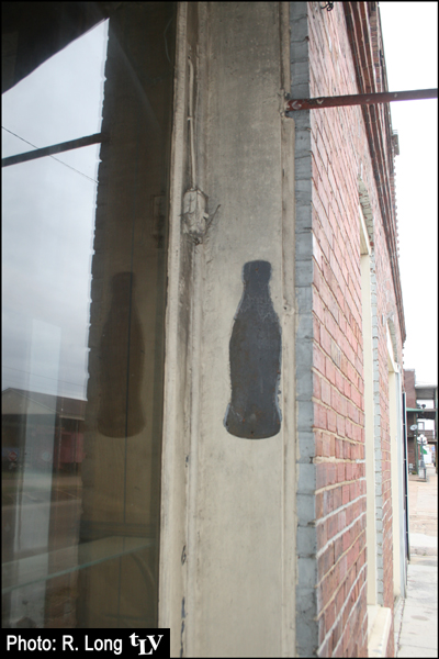 We found this on YaloBrew's outside wall. The guys didn't seem to know what it was originally, but there used to be a Double Cola plant and a Coca-Cola plant in Water Valley, so our guess is that there used to be a Coke thermometer hanging here.