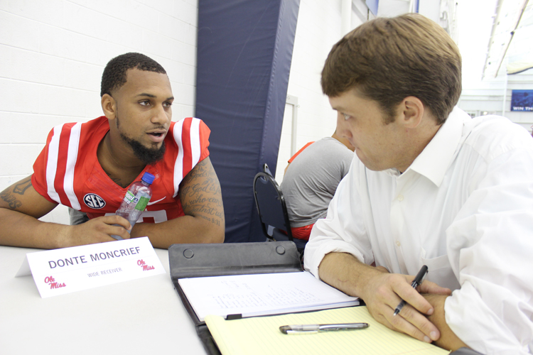 Donte Moncrief talks to Local Voice Sports Editor Carver Rayburn. Photograph by Newt Rayburn.