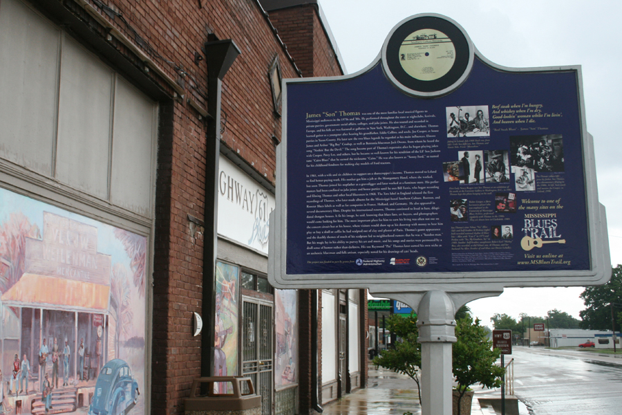 "Bluesman James ""Son"" Thomas' Blues Trail marker next to Highway 61 Blues Museum in Leland, Mississippi"