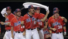 Ole Miss Celebrates Sunday, June 8, 2014 after beating Louisiana-Lafayette 5-2.