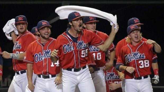Ole Miss Celebrates Sunday, June 8, 2014 after beating Louisiana-Lafayette 5-2.