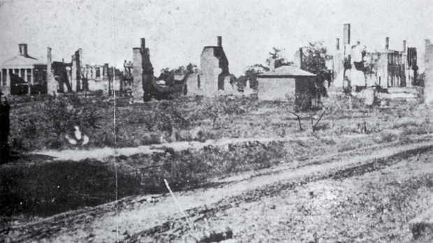 This photograph is thought to show the devestation of Oxford, Mississippi after August 22, 1864. It was verified in the 1930s by a local DAR chapter. However its authenticity is disputed.