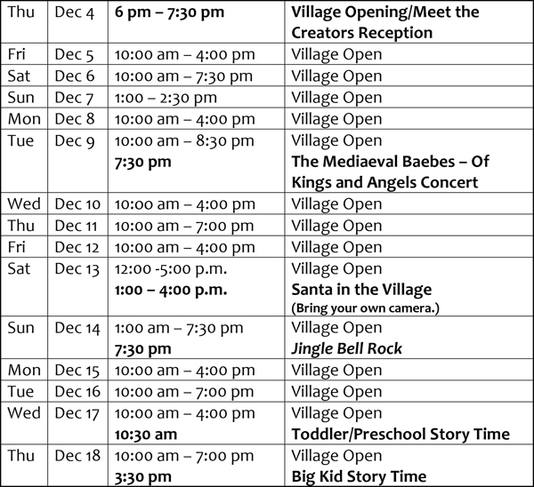 Microsoft Word - 2014 Village Schedule