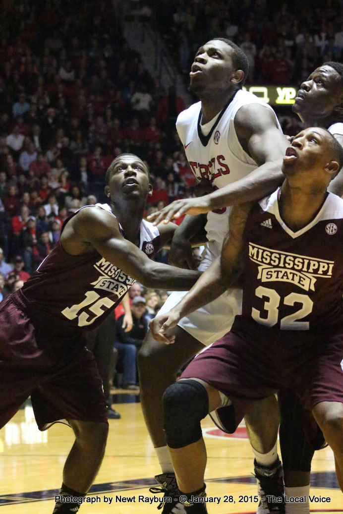 """""""Very, very seldom do you win basketball games when you get out rebounded,"""" said Ole Miss Head Coach Andy Kennedy. The Bulldogs out-rebounded the Rebels 34-31. Photograph by Newt Rayburn."""