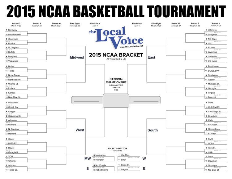 2015 NCAA Tournament Bracket PDF Download