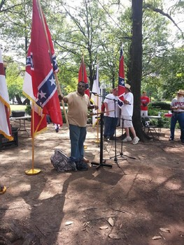"Anthony Hervey giving his final speech at the ""Monumental Dixie"" rally in Birmingham, Alabama on July 18, 2015."