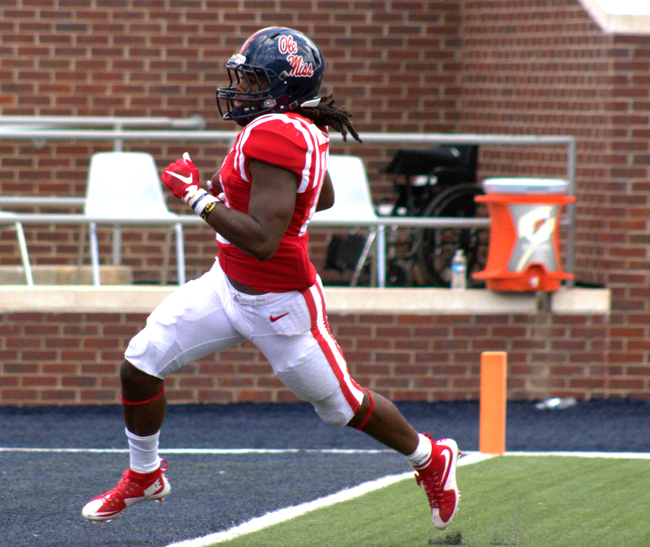 The entire depth chart got in the game against UT Martin when back up Running Back Eugene Brazley scored a 70 yard touchdown run in the Fourth Quarter. Photograph by Shelby Rayburn - The Local Voice.