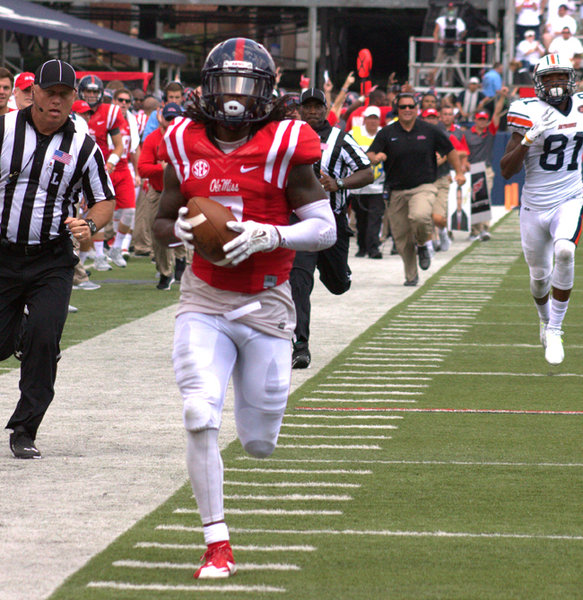 Trae Elston's 93 yard interception return for a touchdown fired up the Rebels in Oxford Saturday against UT Martin. Photograph by Shelby Rayburn - The Local Voice.