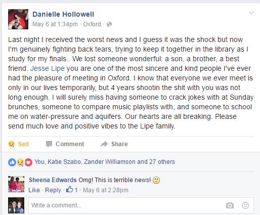 Jesse Lipe facebook post