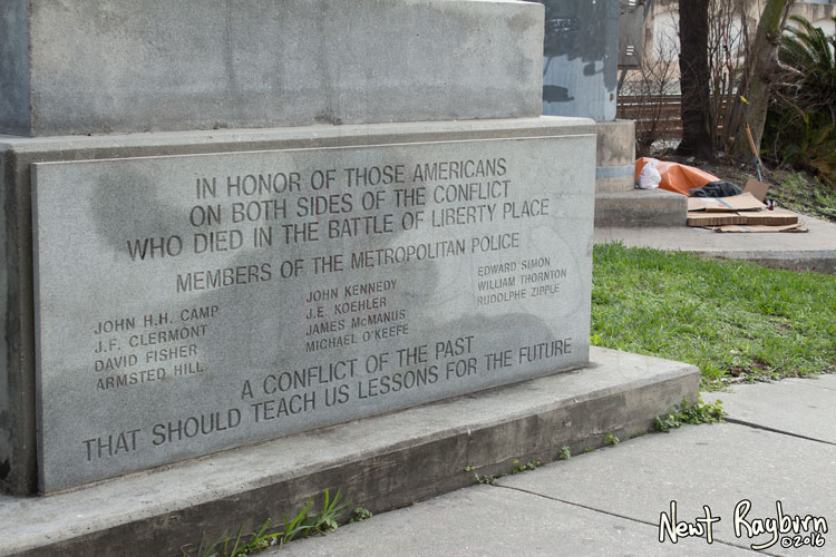 "The Battle of Liberty Place monument in New Orleans, Louisiana, January 2, 2016. Photograph © 2016 Newt Rayburn - newtrayburn@gmail.com. Inscription reads ""IN HONOR OF THOSE AMERICANS ON BOTH SIDES OF THE CONFLICT WHO DIED IN THE BATTLE OF LIBERTY PLACE. MEMBERS OF THE METROPOLITAN POLICE (Eleven names of individual officers who died) A CONFLICT OF THE PAST THAT SHOULD TEACH US LESSONS FOR THE FUTURE"""