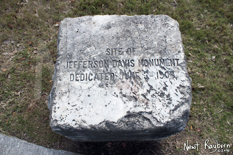 "The Jeff Davis Monument dedication stone on January 2, 2016, at the intersection of Canal Boulevard and Jefferson Davis Parkway in New Orleans, Louisisana. Photograph © 2016 Newt Rayburn – newtrayburn@gmail.com. Inscription reads, ""SITE OF JEFFERSON DAVIS MONUMENT DEDICATED JUNE 3RD 1908"""