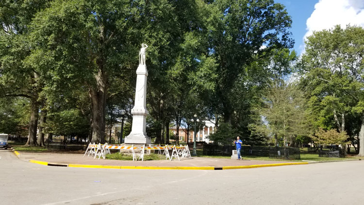 Damage to the Confederate Statue at Ole Miss, hit by a truck on Septgember 16, 2017. Photograph by Newt Rayburn - The Local Voice.