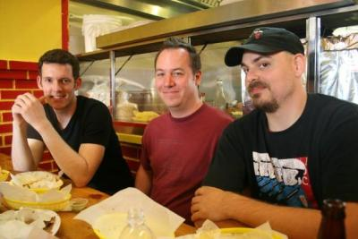 Tait Graves, Chris Robertson, and Gentry Webb in San Francisco in 2008. This reunion of the original Nightmare on Sesame Street line up took place during The Cooters West Coast Tour.