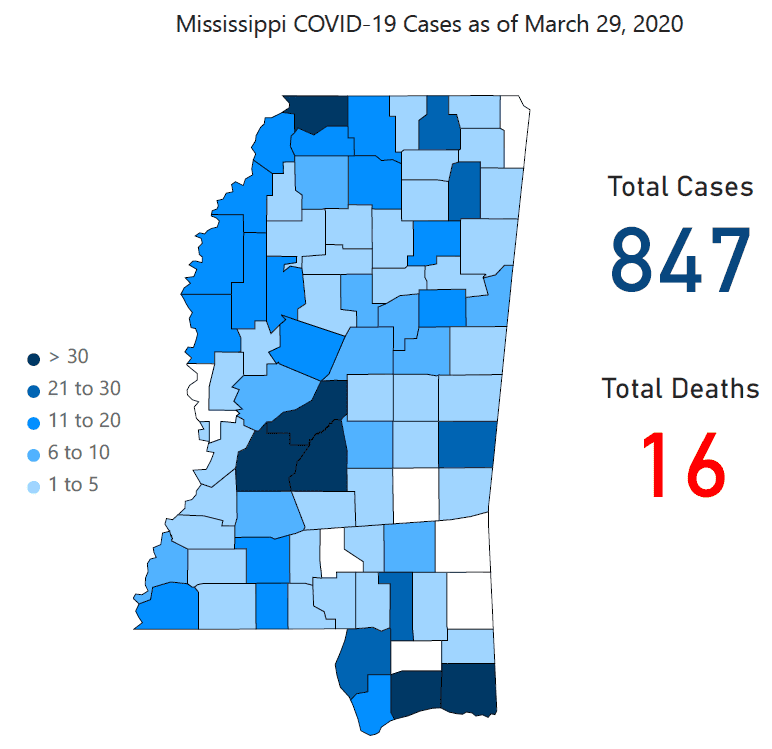 Mississippi State Department of Health Reports 89 New Coronavirus Cases; Total Count at 847 Cases and 16 Deaths Statewide