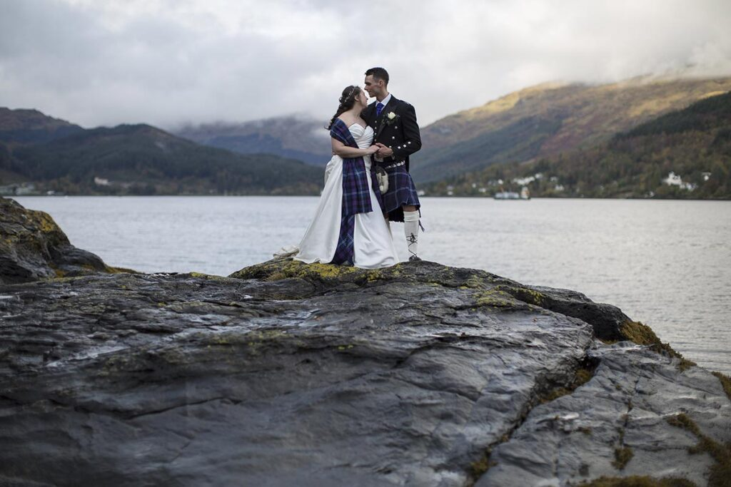 Wedding party on the shore of Loch Goil