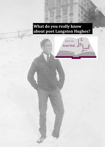 A young Langston Hughes stands outside his high school in the snow.